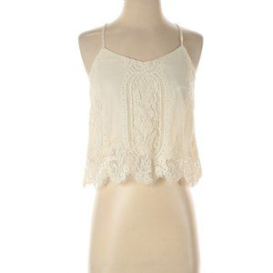 Forever21 cream lace crop top